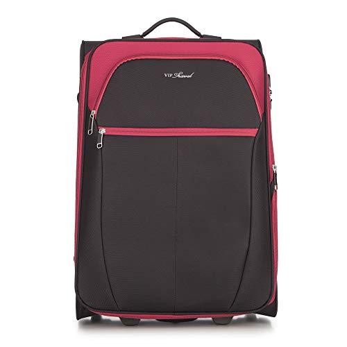 WITTCHEN Koffer – Mittelgroßer   Textil, material: polyester   hochwertiger und stabiler   Schwarz/Rot   69 L   63x32x42 cm