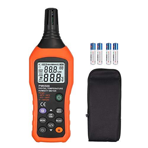 Neoteck digitale Hygrometer Thermometer mit Feuchttemperatur Taupunkttemperatur Meter Industriestandard Für Industrie/Schmelzen oder chemische Industrie/Landwirtschaft/Haushalt Stabil und bequem