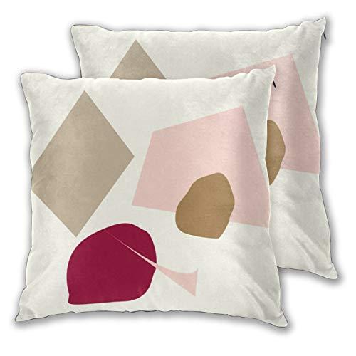 Juego de 2 fundas de almohada cuadradas abstractas geométricas del punto burdeos hogar decorativo suave fundas de cojín para dormitorio, sofá sala de estar 45 x 45 cm