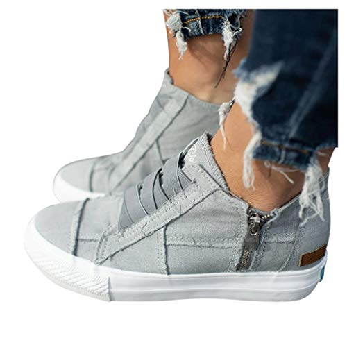 Sunyastor Sneakers for Women,New Casual Platform Hollow-Out Slip-on Faux Suede Breathable Round Toe Slip On Shoes Flat