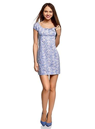 oodji Ultra Damen Baumwoll-Kleid mit Raffungen an der Brust, Blau, DE 38 / EU 40 / M