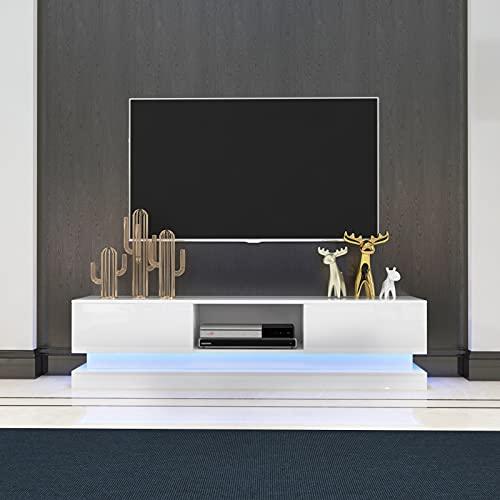 YOLEO TV-Lowboard, Fernsehschrank in Hochglanz, Fernsehtisch TV-Schrank mit LED-Beleuchtung, Stehendes TV-Regal Weiß,130x35x40cm