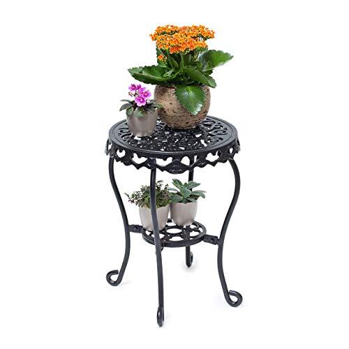 Relaxdays Blumenhocker rund Größe M aus Gusseisen HBT ca. 41 x 30 x 30 cm Blumenständer mit 2 Ablagen Beistelltisch für Blumen und Dekoration in Haus und Garten Hocker für Pflanzen, schwarz