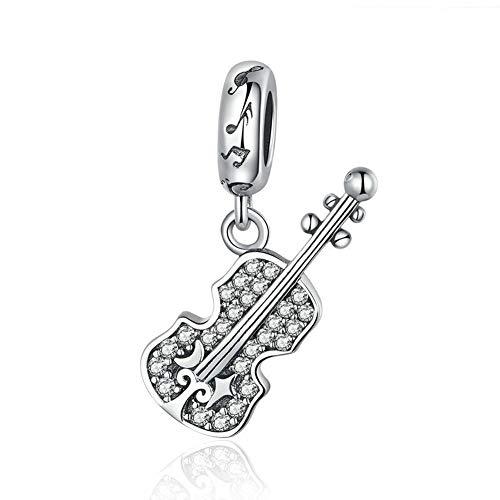 HMMJ Les Femmes S925 Charms en Argent Sterling Perles Violon Bricolage Main Pendentif Compatible avec Pandora & Bracelets européens Colliers