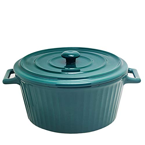 Jomop Casserole Dish with Lid 1.1 Quart Ceramic Casserole Pan for Bakeware Oven Colorful (1, Dark Green)