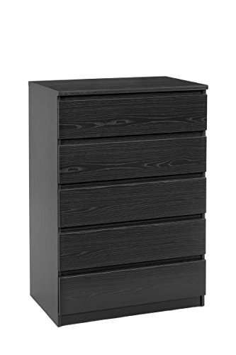Tvilum Scottsdale 5 Drawer Chest, Black Wood Grain