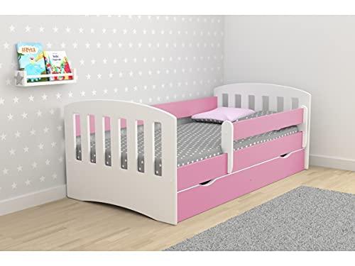Children's Beds Home - Cama individual Classic 1 - Para niños niños pequeños - Tamaño 180x80, Color Rosa, Cajón Sí, Colchón 12 cm de espuma de alta resistencia