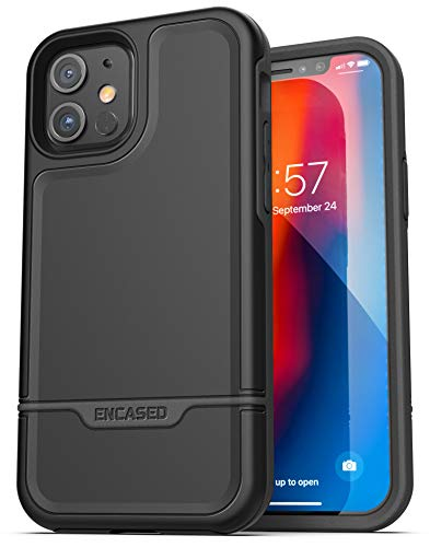 Encased Protective Rebel Series Compatible with iPhone 12 Mini Case Heavy Duty Full Body Rugged Cover - Black