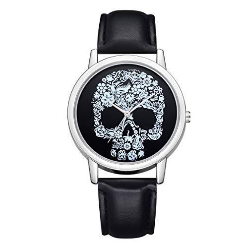 Relojes de Pulsera de Cuarzo con patrón de Cabeza de Calavera Persdico, Reloj de Horas de Moda Simple para Mujer, Relojes de Lujo con cinturón de Cuero para Mujer