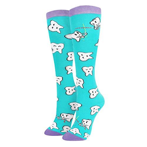 Kniehohe Socken für Damen, Tierfutter, Früchte, Dentaleinhorn, lustig, Geschenkidee - - Medium