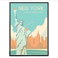 Qwgykr ニューヨークUsaトラベルアートキャンバスポスタープリント家の装飾絵画写真キャンバスプリントウォールアートプリントキャンバス-40X60Cmフレームなし
