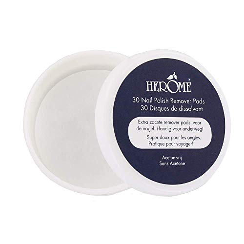 Herome Esmalte de uñas Toallitas desmaquillantes Discos (Caring Nail Polish Remover Pads Travel size) - 30 pads - Sin acetona, Tamaño de viaje