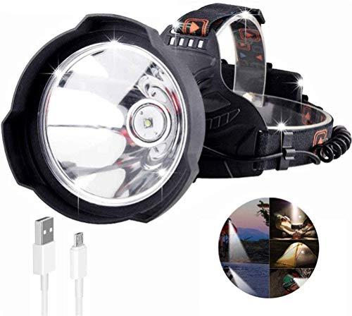 ACBIC Linterna frontal LED súper brillante, USB recargable para exteriores 35000 lúmenes Linterna frontal Ligero Casco Casco de la lámpara Uso potente 18650 para pesca Senderismo Caminar