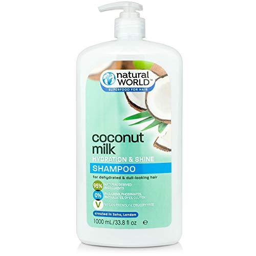 Natural World Lait de coco hydratation et brillance Shampooing 1L