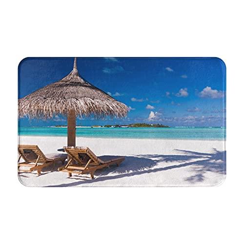 MJIAX Alfombras de baño, alfombras de baño,Dos sillas y sombrilla en una Playa con Sombra de Palme, Alfombras de Felpa Alfombras Felpudo Suave y Duradero Alfombras decoración Antideslizante