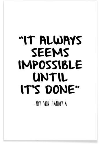 """JUNIQE® Motivation Glückwünsche Poster 20x30cm - Design """"Impossible"""" entworfen von Mottos by Sinan Saydik"""