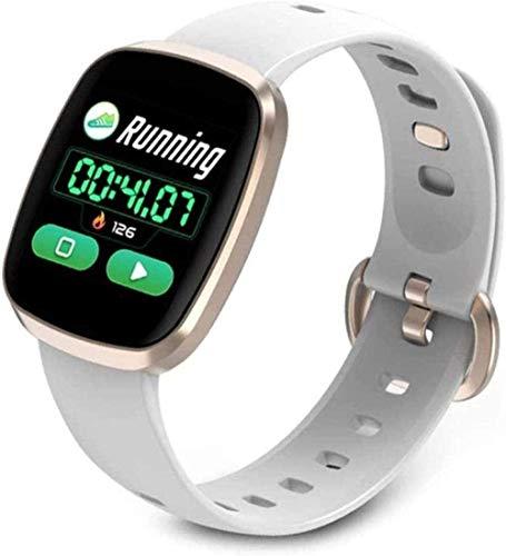 Reloj inteligente Ip68 resistente al agua con monitor de presión arterial de ritmo cardíaco pantalla completa táctil reloj deportivo para mujeres hombres desgaste diario-A-negro-oro blanco