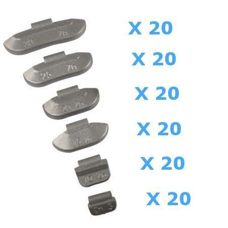120 Contrappesi assortiti da 5 a 30g per equilibratura ruote in ferro auto