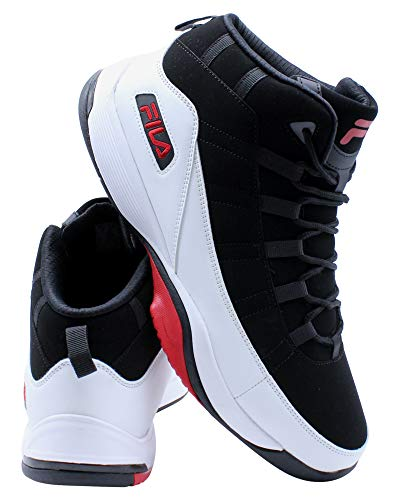 Fila Seven Five - Tenis de baloncesto para hombre, (Negro/Blanco/Rojo), 43 EU