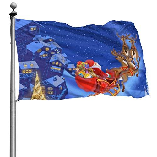 Sneeuw Overdekte Dorp Rendier Slee Santa Garden Vlaggen Duurzame Fade Bestand Decoratieve Vlaggen Premium Kwaliteit Officiële Vlag Met Grommets Deluxe Outdoor Banner Voor Alle Seizoenen & Vakanties- 4x6 Ft