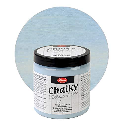 Viva Decor® Chalky Vintage-Look (250 ml, Hellblau) dekorative Lasur - Vintage Kreidefarbe für Shabby Chic - Chalk Paint für Innen und Außen - Made in Germany