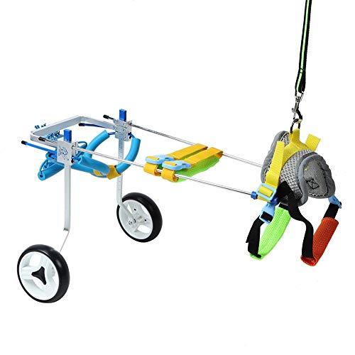 Pssopp Hunderollstuhl Leicht Hundewagen Hunde Hinten Rollstuhl Einstellbare 2 Räder Hund Gehhilfe Hinterbeine Reha Trainingsroller für Hunde Hinterbein (XS für 6-12kg)