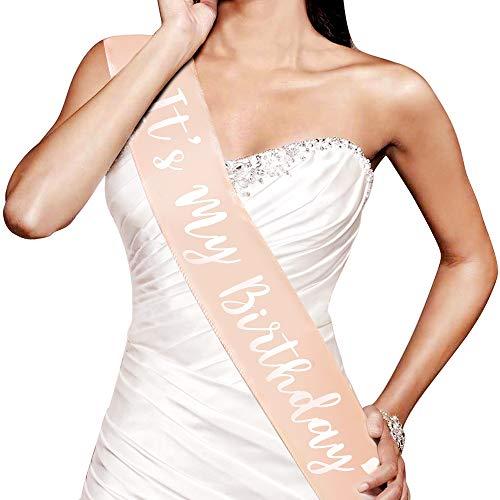 Konsait Oro Rosa Compleanno Fascia, Its My Birthday Fusciacca Gadget per Decorazioni Festa di Compleanno Regali per Ragazze Donna 16 ° 18 ° 21 ° 30 ° 40 ° 50 ° 60 Anni Compleanno