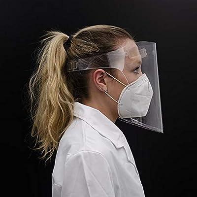 FÁCIL LIMPIEZA: Nuestras máscaras faciales son fácil limpieza y desinfección, con agua jabonosa o con una solución de lejía diluida al 2 % ALTA PROTECCIÓN: Estas pantallas faciales tienen un cierre inferior que evita dispersión de particulas hacia ab...