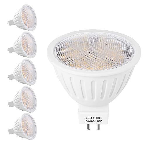 7W Gu 5.3 Led Mr16 12v Spot Lampe, 50 65W Halogenlampe Äquivalent, GU 5,3 Sockel Glühlampen 700lm Naturweiß 4000K Nicht Dimmbar, 120° Abstrahlwinkel Energiesparlampe, 6er Pack