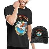 Thimd Camiseta de Manga Corta para Hombre,Gorra de béisbol Combinación Negro Steve Miller Band T-Shirts and Washed Denim Baseball Dad Hat Black
