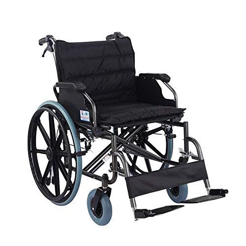 CCLLA Tragbarer Rollstuhl Faltbares Licht Tragbar mit 56 cm breitem Sitz Übergewichtige ältere Menschen mit Behinderung Selbstfahrender Walker