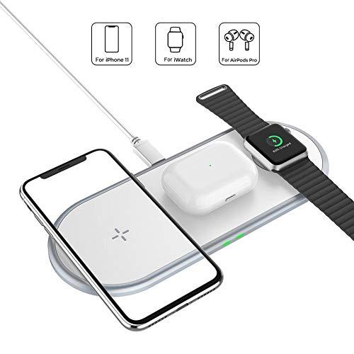 globalqi Cargador inalámbrico, Soporte de Carga inalámbrico Acokki 3 en 1 para Apple Watch y Airpod, estación de Carga para múltiples Dispositivos, Base de Carga rápida Qi para iPhone Samsu