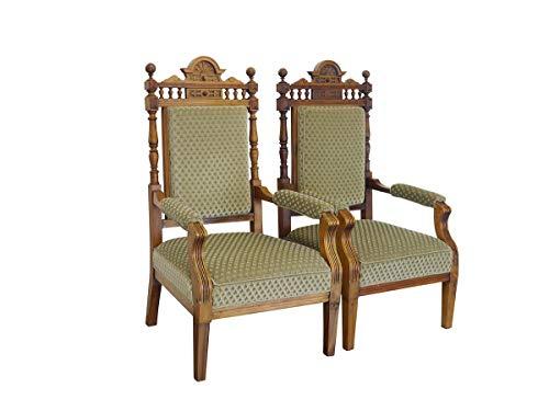 2 antike Sessel Gründerzeit um 1880 aus Buche mit grünem Polster | Clubsessel Polstermöbel 2er Set| B: 63 cm (9724)