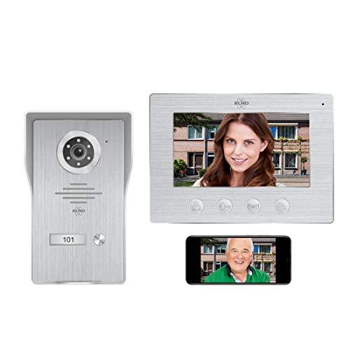 ELRO DV477IP WiFi IP videoportero - con Pantalla a Color de 7 Pulgadas - Color Night Vision - Vista en Vivo y comunicación a través de la aplicación, Aluminio Cepillado, 1 Familia