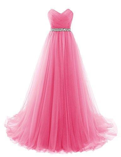 EVANKOU Damen Lang Tüll Abendkleider Elegant Ballkleid Prinzessin Dunkelrosa Größe 36