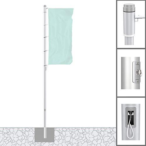 Vispronet® Alu-Fahnenmast 6 m/ø 75 mm Protect Extend ✓ Hissbarer, Drehbarer Ausleger ✓ Nahtlos Zylindrisch ✓ Diebstahlgesichert