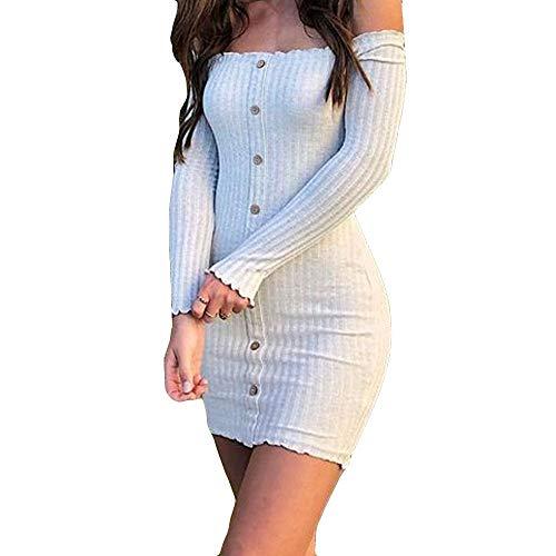 FRAUIT Damen Sexy Elegant Pulloverkleid Knopf Schulterfrei Strickkleid Tunika Kleid Kurz Etuikeid Bodycon Partykleid V-Ausschnitt Langarm Minikleid Mit Gürtel