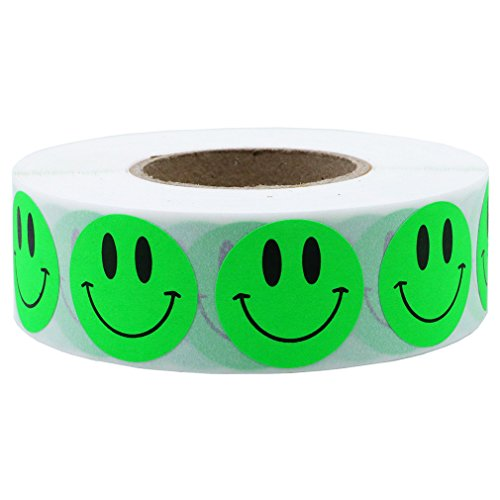 Hybsk 1 Inch Fluorescent Green Smiley Face Stickers Happy Face Stickers Adhesive Labels Total 1,000 Per Roll (Fluorescent Green)
