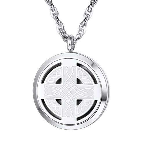 PROSTEEL Diffuser Necklace Locket Aromatherapy Necklace Stainless Steel Essential Oil Diffuser Mens Womens Celtic Knot Cross Jewelry