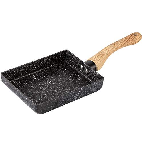 Nrpfell padella nera 34x13 cm padella antiaderente per crepe, pancake, wok, con manico in legno antiscottatura