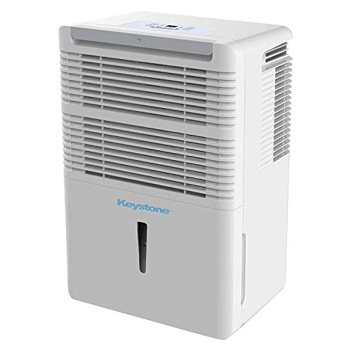 Keystone KSTAD30B 22 Pint Capacity Portable Home Air Dehumidifier for 1,500 Square Foot Large Rooms, White (Certified Refurbished)