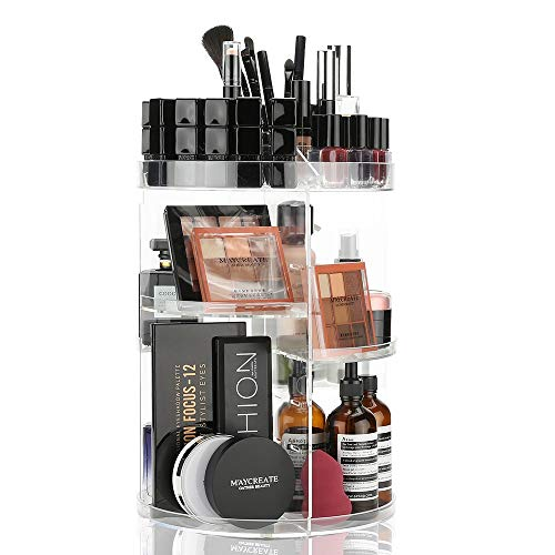 LINFIDITE 360 Rotating Makeup Organizer Cosmetic Storage Spining Makeup Holder Box Display Stand Adjustable Tray for Vanity Bathroom Bedroom Closet Large Acrylic Clear