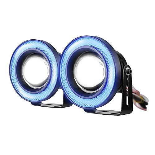 "ESUPPORT 2Pcs 2.5"" 12V 30W COB LED Fog Light Projector Car Blue Angel Eyes Halo Ring DRL Lamp Headlight Driving Bulbs"