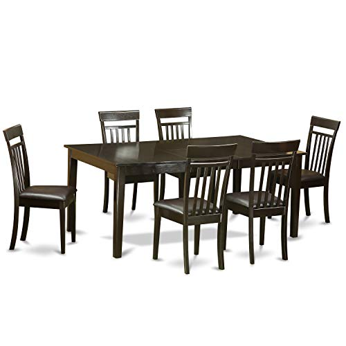 East West Furniture 7-Pc Dining Room Set Included a Self-Storing Butterfly Leaf Rectangular Dining Table and 6 Mid Century Dining Chairs - Faux Leather Kitchen Chairs Seat