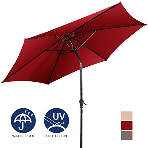 Giantex 9ft Patio Umbrella Outdoor, Market Table Umbrella w/Push Button Tilt and Crank, 180G Polyester Fabric and Sturdy Ribs, Sun Canopy Umbrellas for Patio Garden Beach Deck Pool