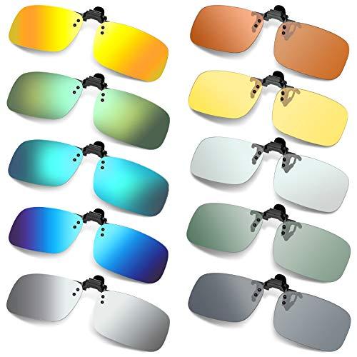10 Pieces Polarized Clip-on Sunglasses Flip Up Rimless Sunglasses for Women Men (Vibrant Colors)