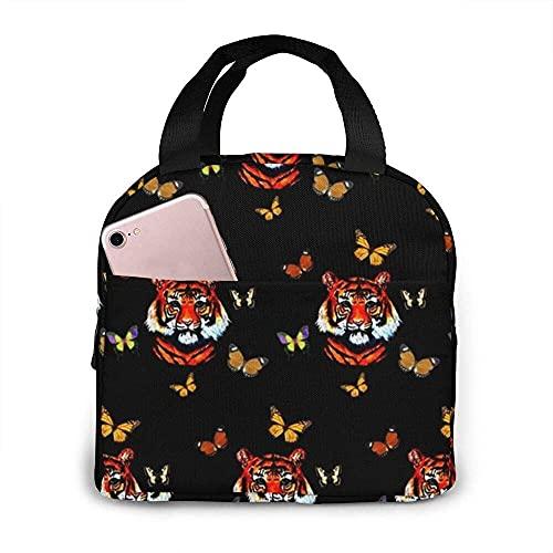 Tigers and Butterflies tragbare isolierte Lunchbox wasserdichte Bento-Tasche für das Büro Wandern am Strand Picknick