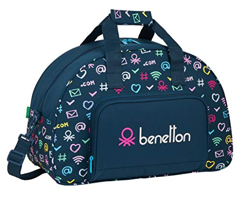 Safta Bolsa de Deporte de Benetton, 480x210x330mm, azul marino/multicolor, m (M219)