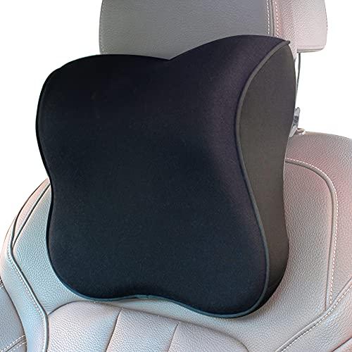 ZATOOTO Cuscino Poggiatesta Auto - Cuscino Collo Auto in Memory Foam,Allevia il Dolore al Collo ed Ergonomico Design, Cinturini Regolabili e Copertura Lavabile ( Nero )