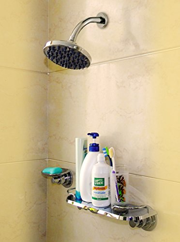 Suction Cup Organizer Storage Rustproof Shelf Shower Caddy Wall Rack Shelves Bathroom Trays and Soap Dishes Come